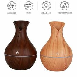 US 7 Color Aroma Essential Oil Diffuser Wood Grain Aromather