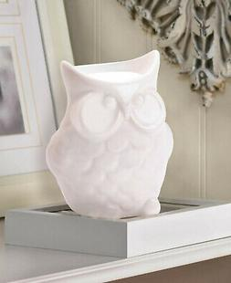 White OWL statue Wax warmer Oil diffuser candle holder burne
